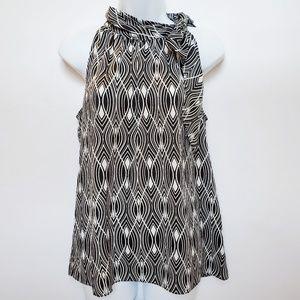 LOFT Black White Sleeveless Tie-neck Blouse Medium